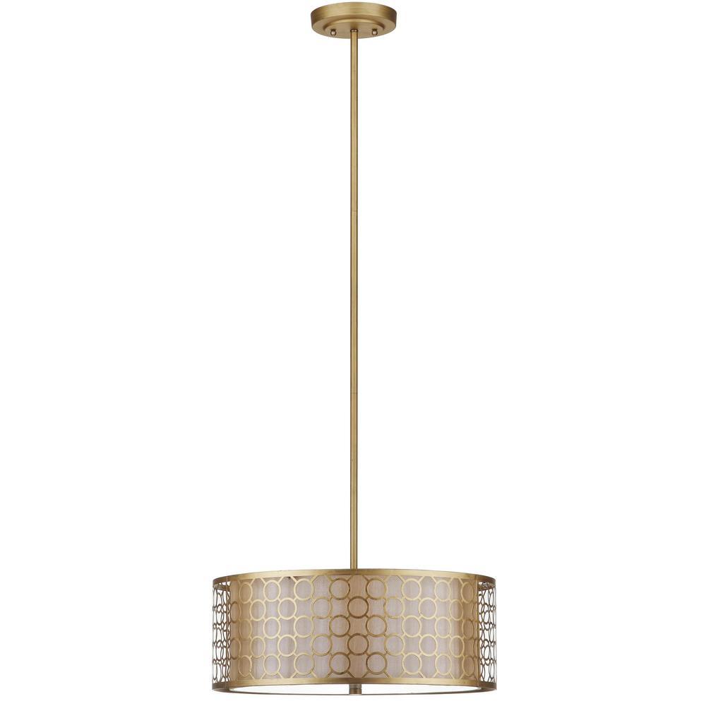 Giotta Drum 3-Light Antique Gold Drum Pendant with Geometric Cream Shade