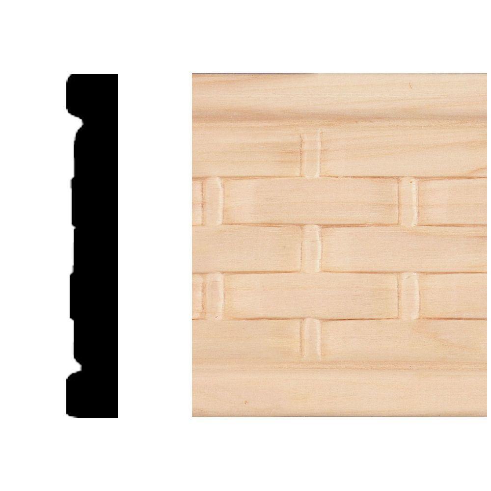 3/8 in. x 2-1/2 in. x 8 ft. Hardwood Emboss Basket Weave Casing/Chair Rail Moulding