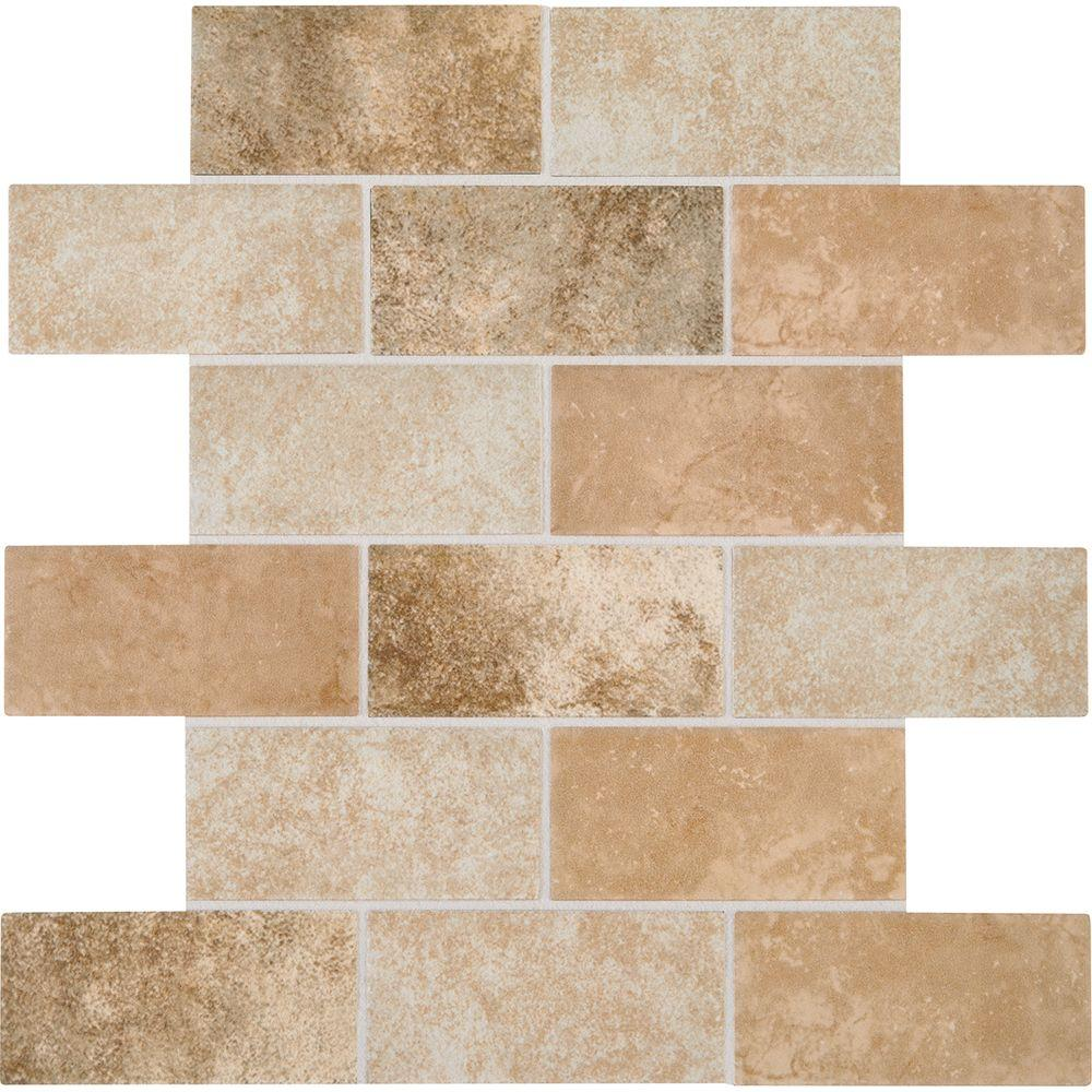 Daltile Grand Cayman Oyster Blend 12 In X 8 Mm Ceramic Brick Joint Mosaic Tile Gc9924bwhd1p2 The Home Depot