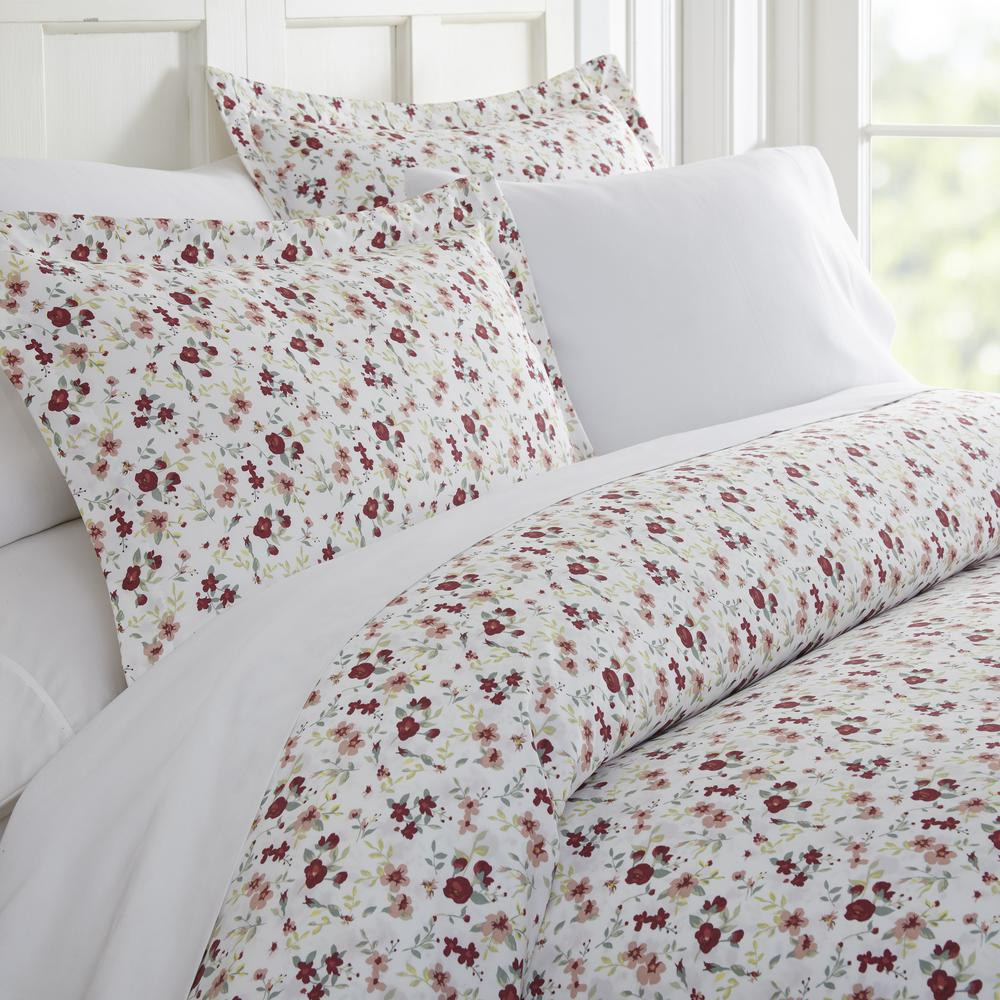 Blossoms Patterned Performance Pink King 3-Piece Duvet Cover Set