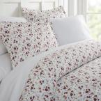 Becky Cameron Blossoms Patterned Performance Pink Queen 3-Piece Duvet Cover Set