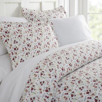 Blossoms Patterned Performance Pink Queen 3-Piece Duvet Cover Set