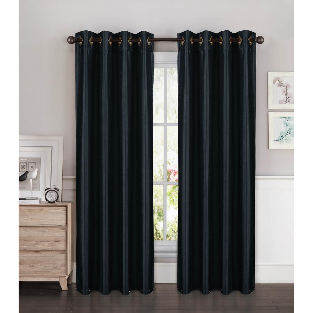 Semi Opaque Kim Faux Silk Extra Wide 96 In L Grommet Curtain Panel Pair Black Set Of 2
