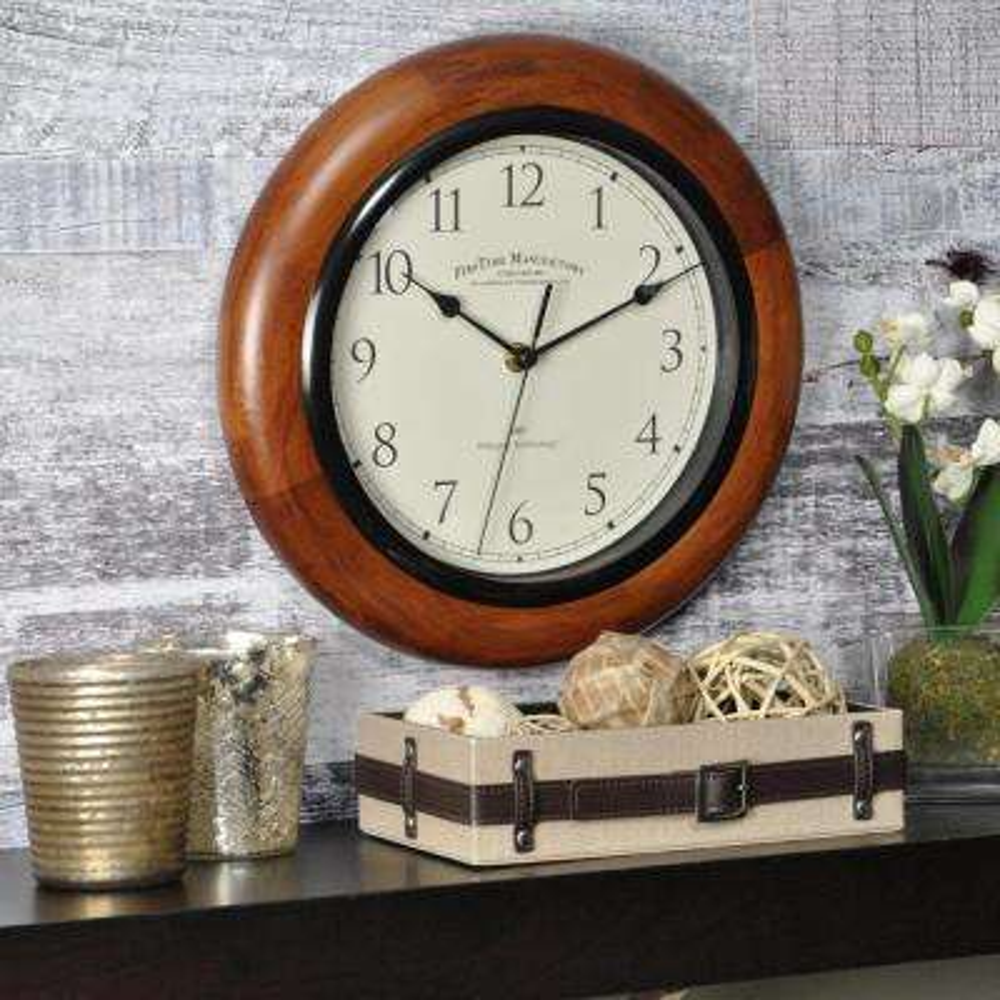 11 in. Walnut Round Wall Clock