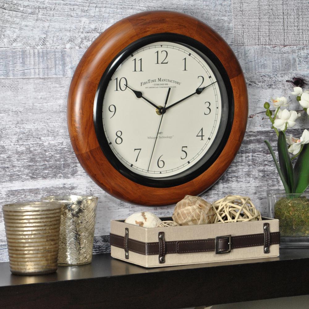 FirsTime 11 in. Walnut Round Wall Clock