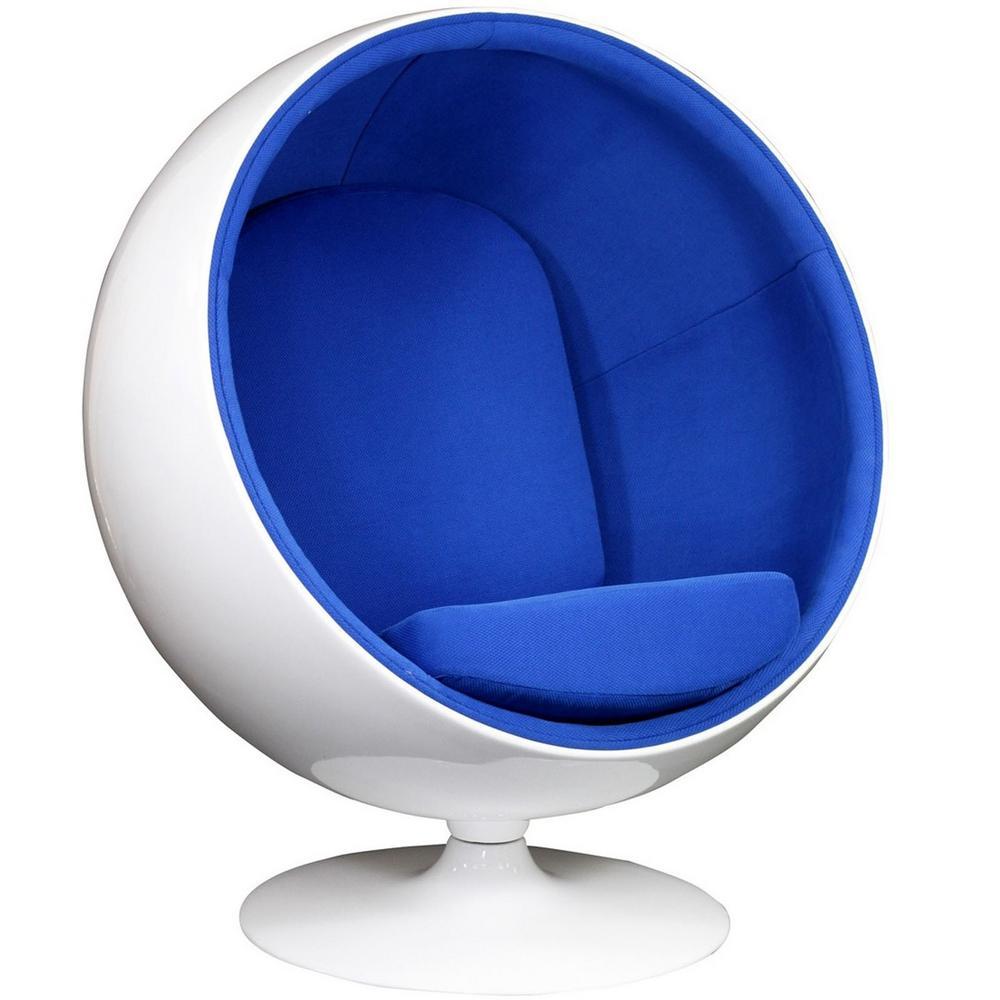 MODWAY Kaddur Fiberglass Lounge Chair in Blue