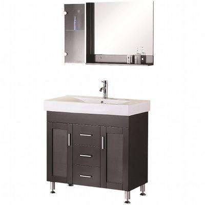 Miami 36 in. W x 19 in. D Vanity in Espresso with Porcelain Vanity Top and Mirror in White