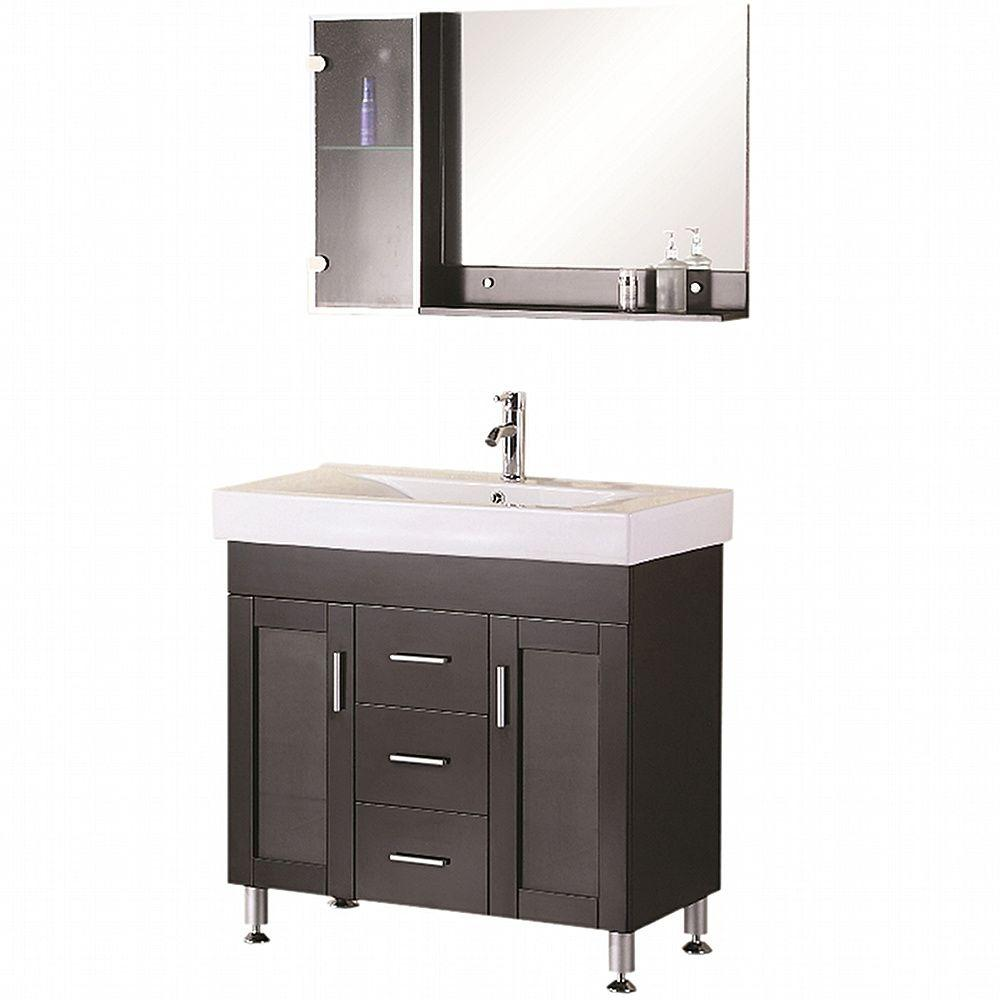 design element miami 36 in w x 19 in d vanity in espresso with porcelain vanity top and mirror. Black Bedroom Furniture Sets. Home Design Ideas