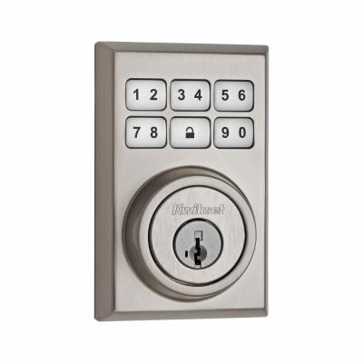Z-Wave SmartCode 910 Contemporary Satin Nickel Single Cylinder Electronic Deadbolt Featuring SmartKey Security
