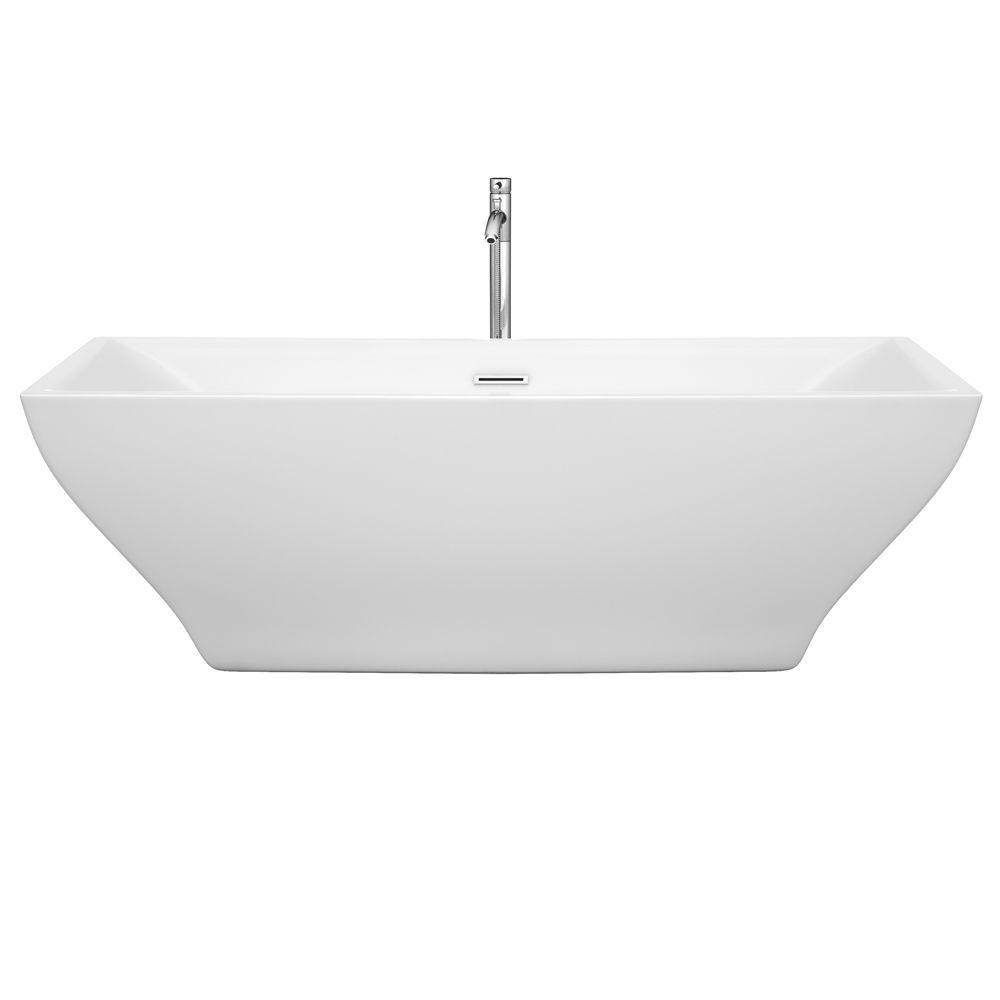 Maryam 70.75 in. Acrylic Flatbottom Center Drain Soaking Tub in White