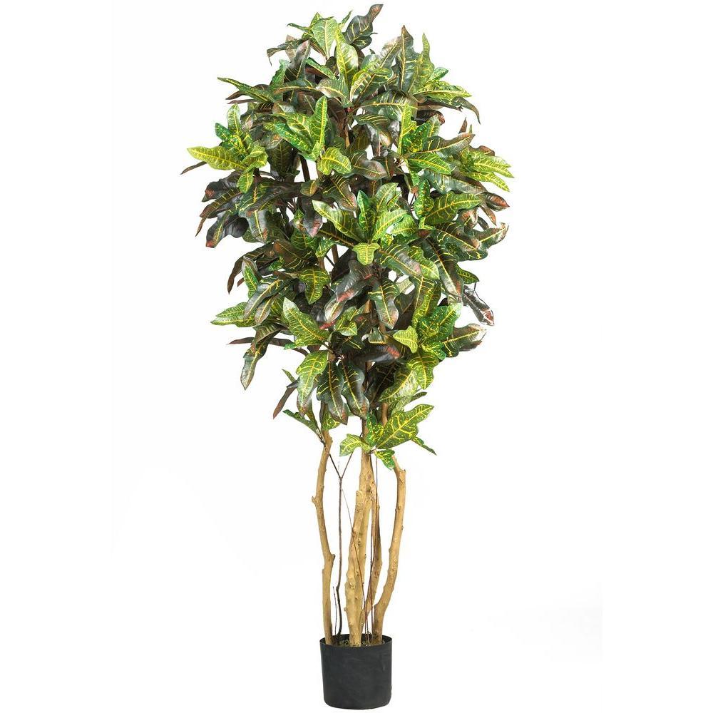 Nearly Natural 5 ft. Croton Silk Tree, Green