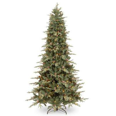 7-1/2 ft. Feel Real Addison Blue Spruce Hinged Tree with Pine Cones and 500 Clear Lights
