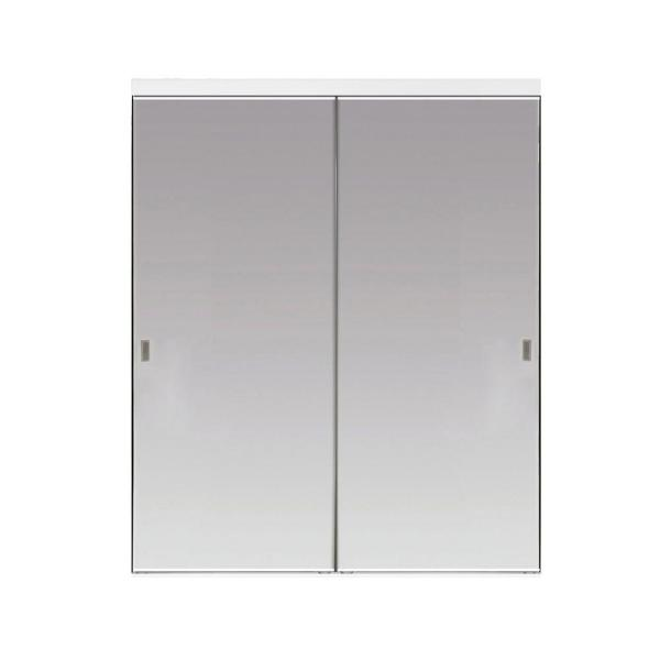 60 in. x 80 in. Polished Edge Backed Mirror Aluminum Frame Interior Closet Sliding Door with White Trim