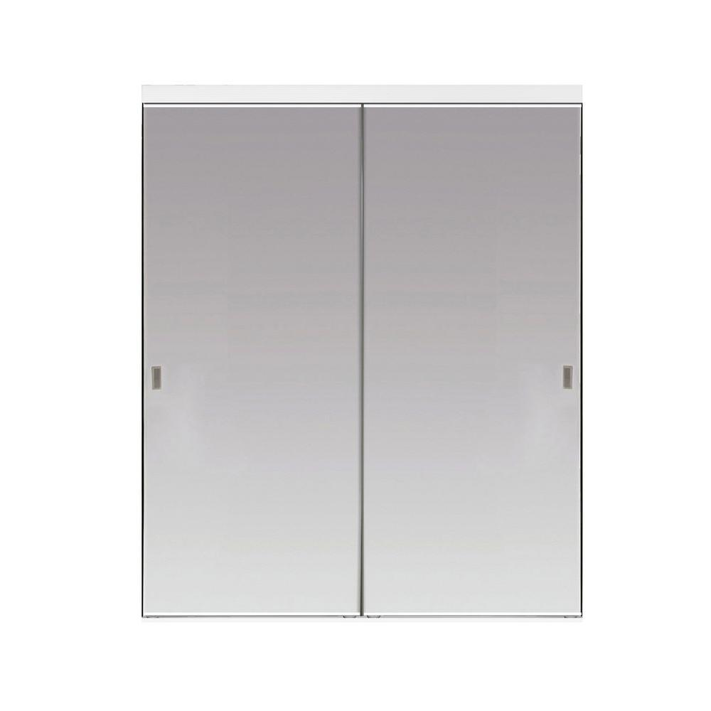 Impact Plus 36 in. x 96 in. Beveled Edge Mirror Solid Core MDF Interior Closet Sliding Door with White Trim