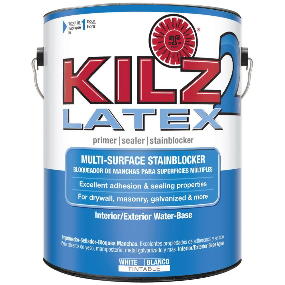 Kilz 2 Latex 1 Gal White Interior Exterior Multi Surface Primer Sealer And Stain Blocker