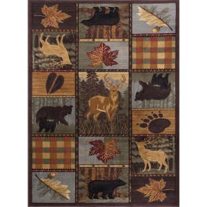 Tayse Rugs Nature Multi 5 Ft X 7 Ft Lodge Area Rug Ntr6568 5x8 The Home Depot