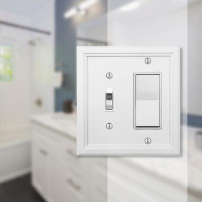 Elly 2 Gang 1-Toggle and 1-Rocker Composite Wall Plate - White