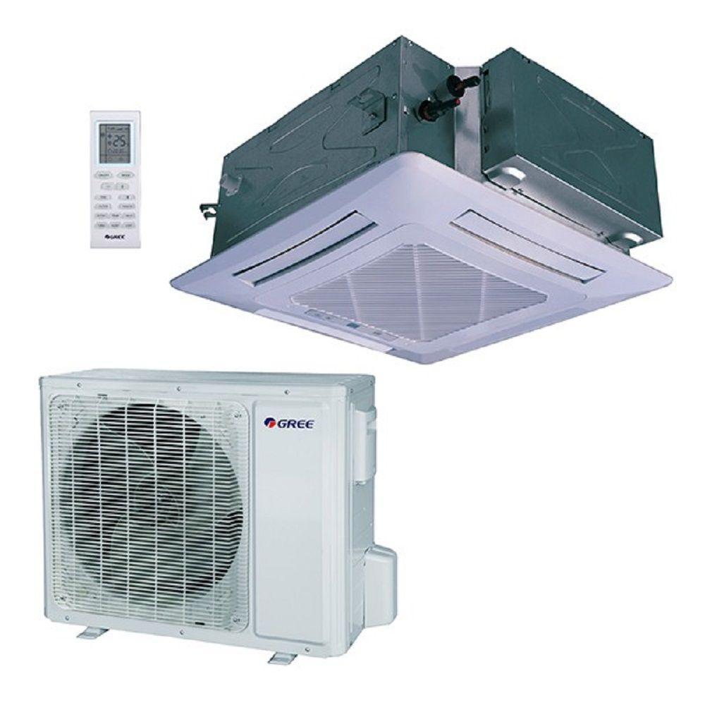 48,000 BTU 4 Ton Ductless Ceiling Cassette Mini Split Air Conditioner with Heat, Inverter, Remote - 230V/60Hz