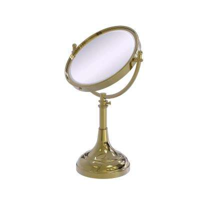Height Adjustable 8 in. Vanity Top Make-Up Mirror 3X Magnification in Unlacquered Brass