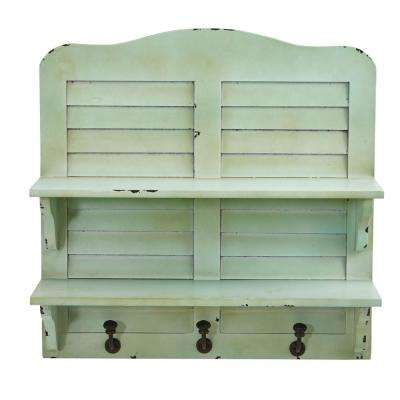 20 in. x 6.5 in. Cream Vintage Window Shutter Shelving with Hooks Wall Decor