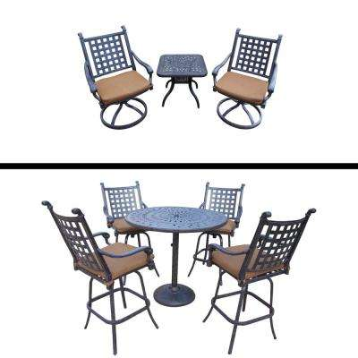 Belmont Premier 8-Piece Aluminum Outdoor Bar Height Dining Set with Sunbrella Brown Cushions
