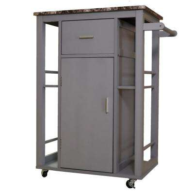Gray Wooden Kitchen Island on Wheels and Heavy Duty Rolling Casters
