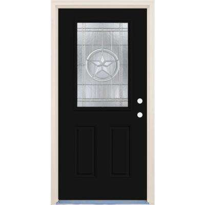 36 in. x 80 in. Left-Hand Texas Star 1/2 Lite Decorative Glass Inkwell Fiberglass Prehung Front Door with Brickmould