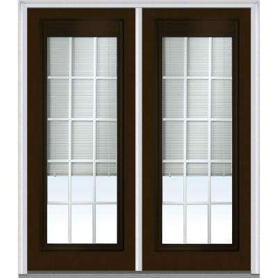 64 in. x 80 in. Internal Blinds and Grilles Right-Hand Full Lite Classic Painted Steel Prehung Front Door