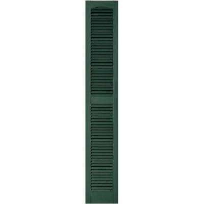 12 in. x 72 in. Louvered Vinyl Exterior Shutters Pair in #028 Forest Green
