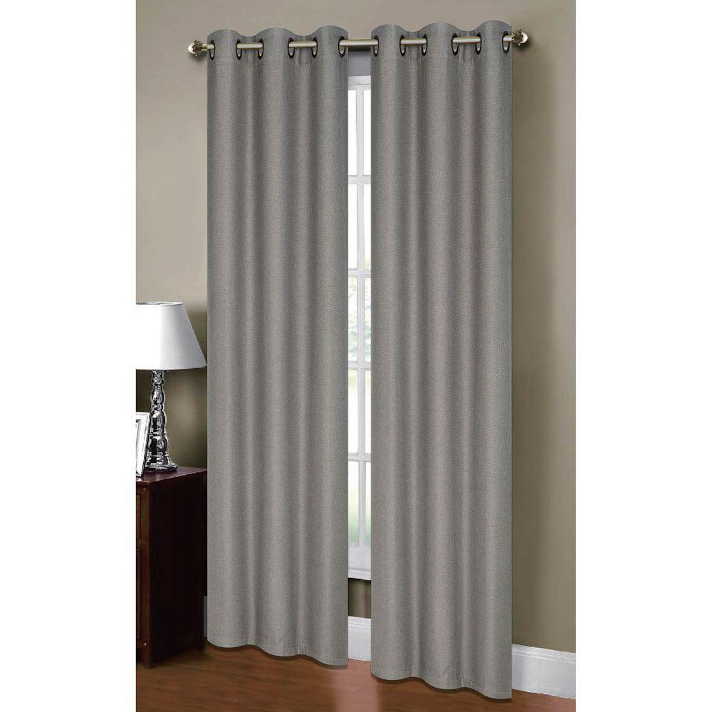 Semi-Opaque Henley Faux Linen 84 in. L Room Darkening Grommet Curtain Panel Pair, Grey (Set of 2)