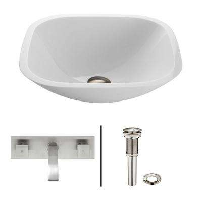 Square Shaped Stone Glass Vessel Sink in White Phoenix with Wall-Mount Faucet Set in Brushed Nickel