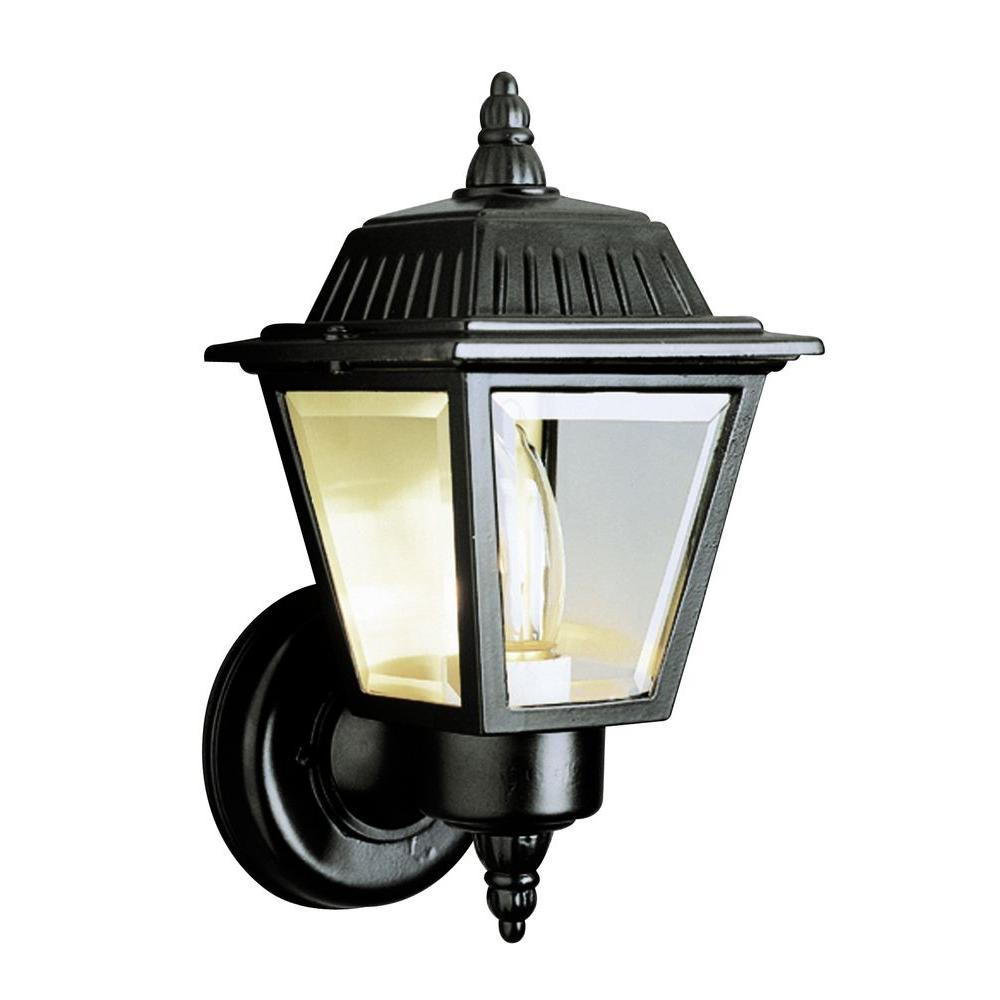 Bel Air Lighting Cabernet Collection 1-Light Outdoor Black Coach Lantern with Clear Beveled Shade