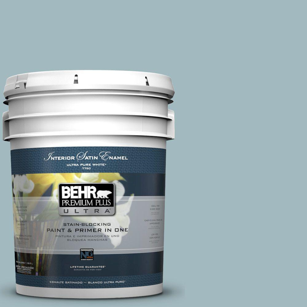 BEHR Premium Plus Ultra 5-gal. #BIC-23 Hopeful Blue Satin Enamel Interior Paint