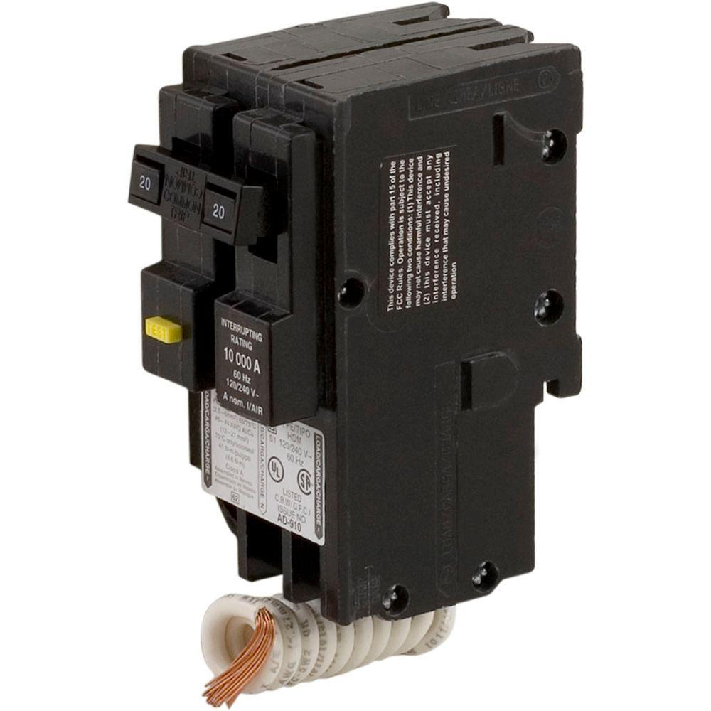 Square D Homeline 20 Amp 2 Pole Gfci Circuit Breaker Clear Packaging Hom220gfic The Home Depot