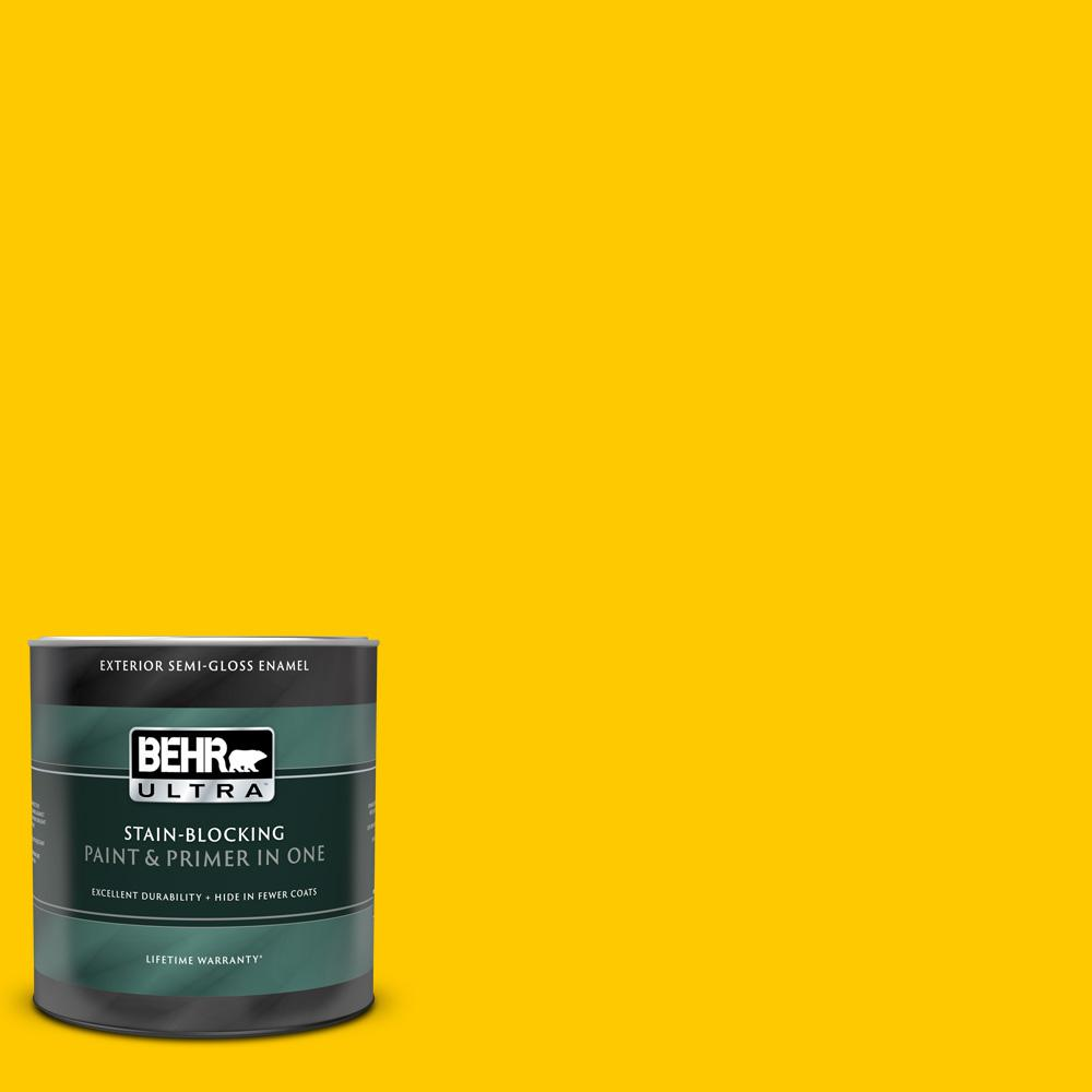 BEHR ULTRA 1 qt. #370B-7 Yellow Flash Semi-Gloss Enamel Exterior Paint and Primer in One