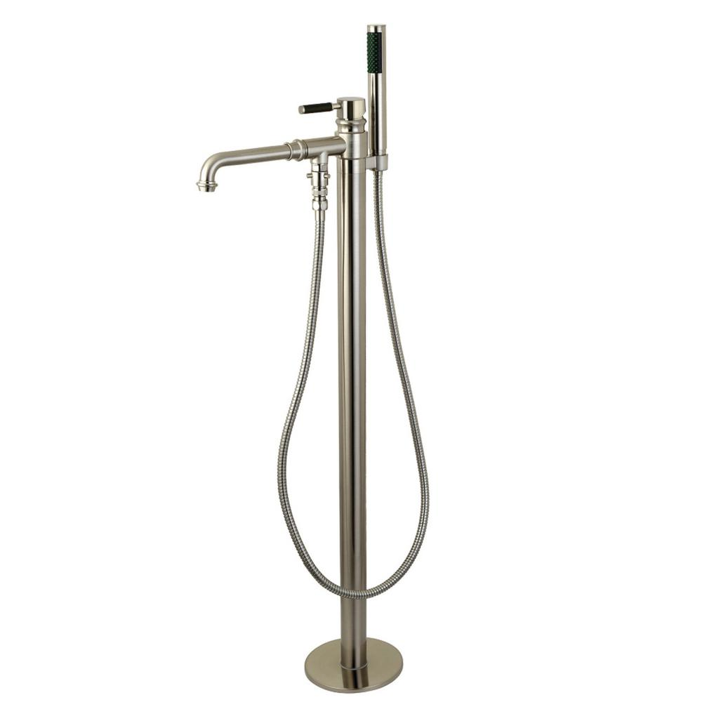 Modern Single-Handle Floor-Mount Roman Tub Faucet with Hand Shower in Brushed