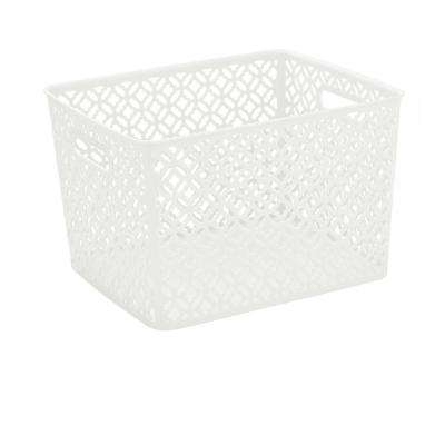 13.75 in. x 11.50 in. x 8.75 in. Trellis Storage Bin Large in White