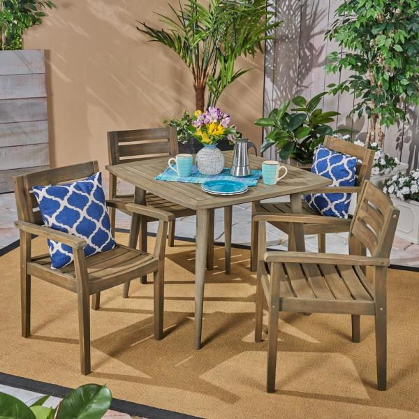Stamford Grey 5-Piece Wood Square Outdoor Dining Set with Straight-Legged Table