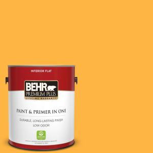 Behr Premium Plus 1 Gal 300b 6 Glorious Gold Flat Low Odor Interior Paint And Primer In One 130001 The Home Depot