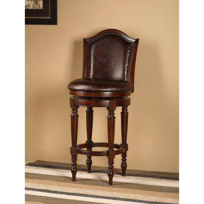 Barcelona 26 in. Brown Cherry Swivel Cushioned Bar Stool