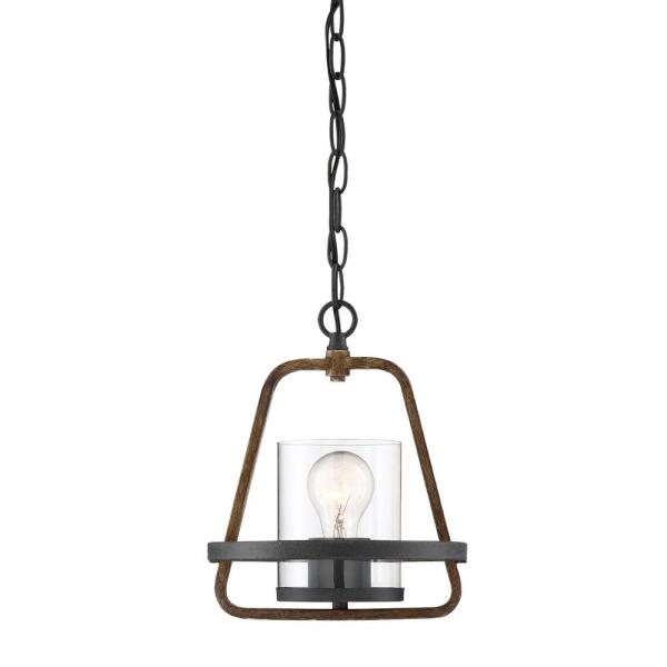 Ryder 1-Light Forged Black Interior Mini Pendant with Clear Glass Shade