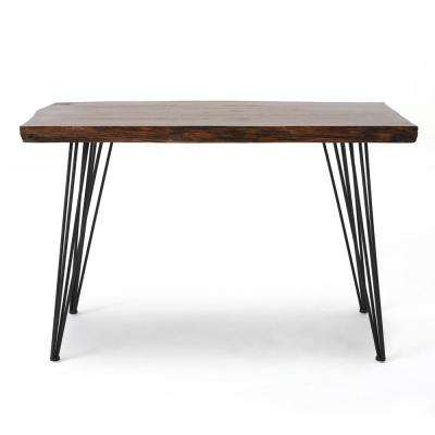 Remington Natural Brown Faux Live Edge Fir Wood Desk with Metal Legs