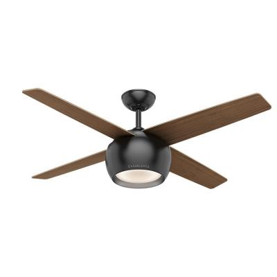 Valby 54 in. LED Indoor Matte Black Ceiling Fan with Light and Wall Control