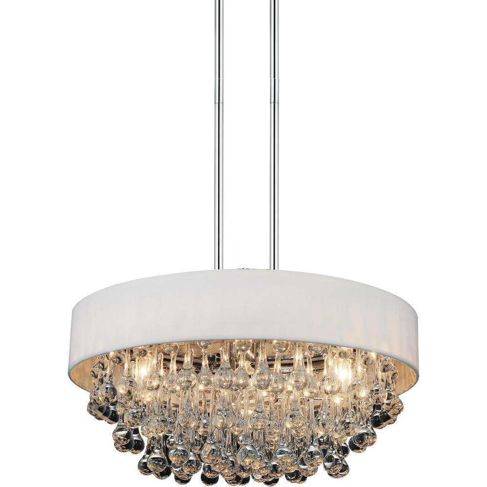 Atlantic 6-Light Chrome Chandelier with White shade