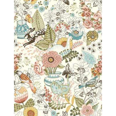 56.4 sq. ft. Whimsy Pink Fauna Wallpaper