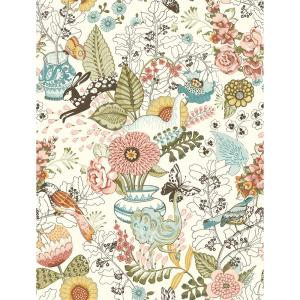8 in. x 10 in. Whimsy Pink Fauna Wallpaper Sample