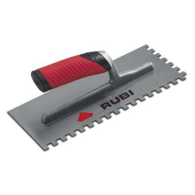 Rubi Pro 11 in. x 1/4 in. x 13/32 in. Steel Notched Pool Trowel