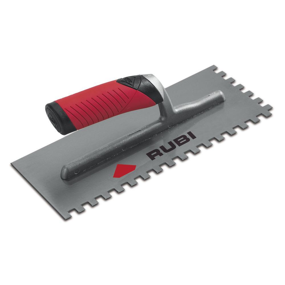 Rubi Pro 11 in. x 1/4 in. x 13/32 in. Steel Notched Pool Trowel
