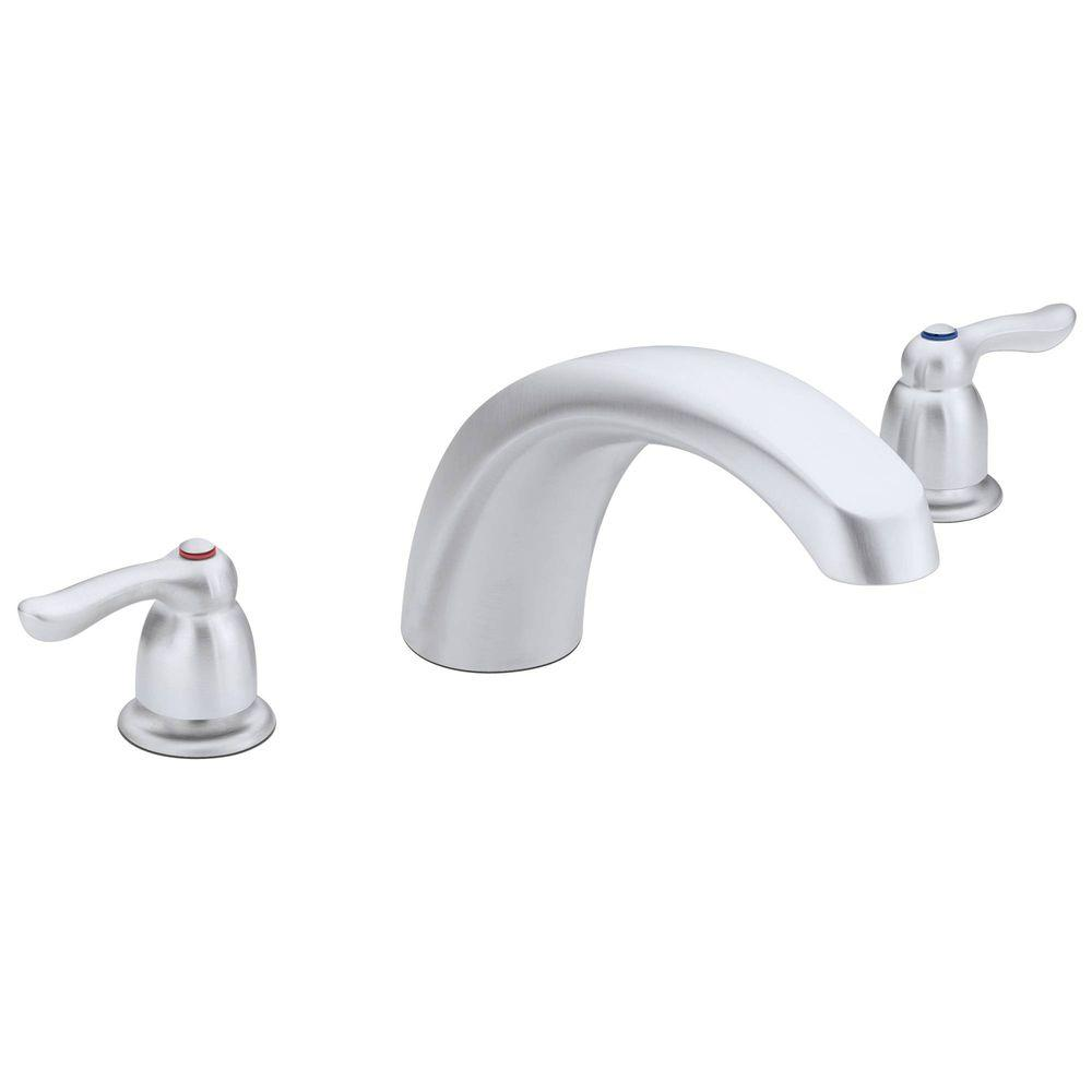 MOEN Chateau 2-Handle Low Arc Deck-Mount Roman Tub Faucet in Brushed Chrome (Valve Not Included)