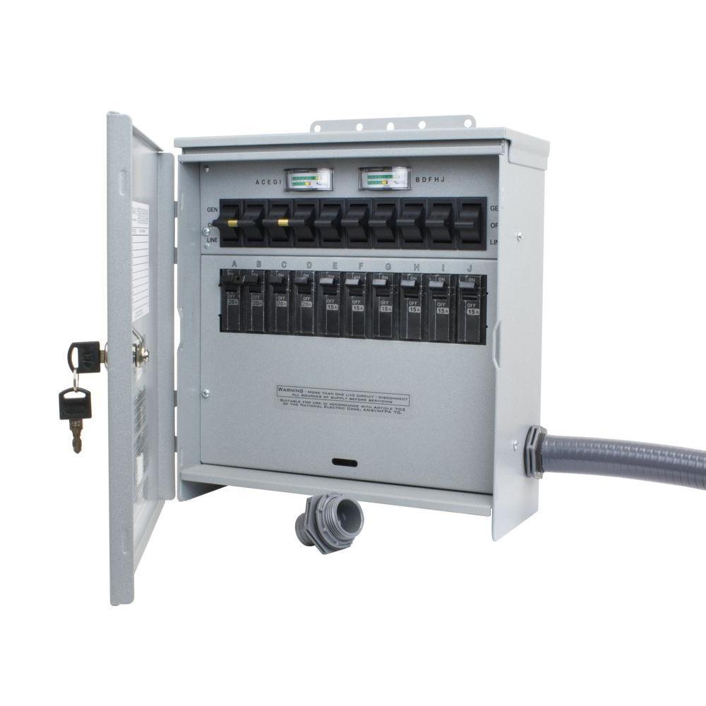 7,500-Watt 30 Amp 10-Circuit Outdoor Transfer Switch